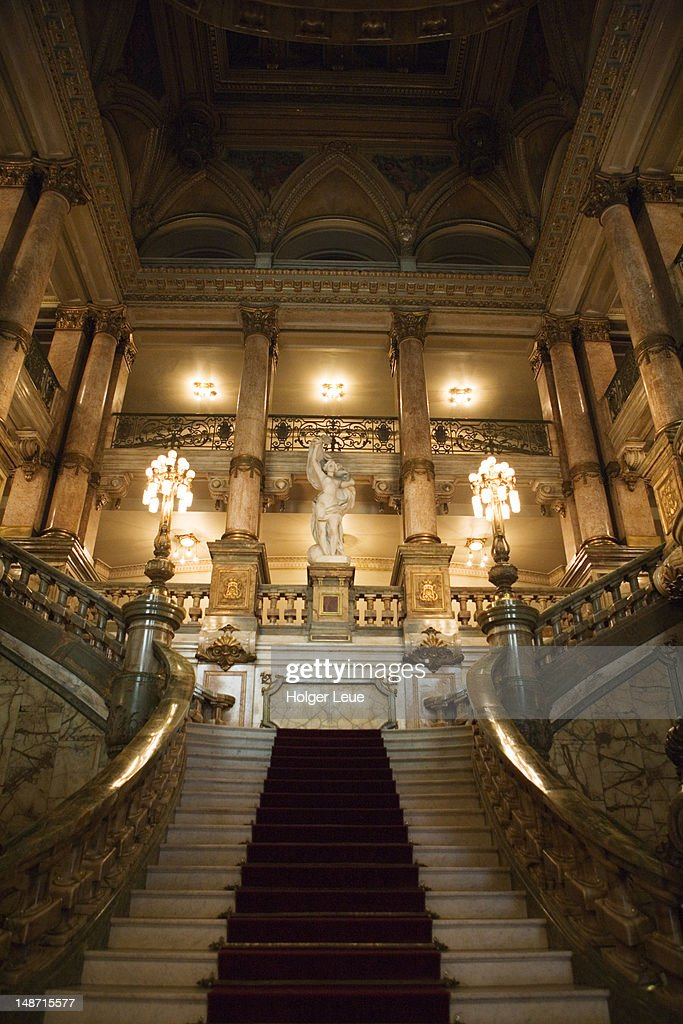 Ornate Staircase In Theatro Municipal Theater Building. : Stock Photo