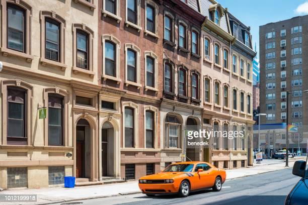 Ornate townhomes on Walnut Street in downtown Philadelphia USA