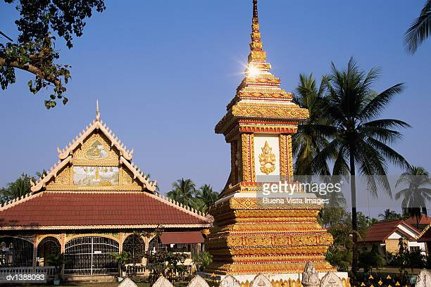 Ornate Wat and Monument, Vientiane, Laos, Indochina, Asia