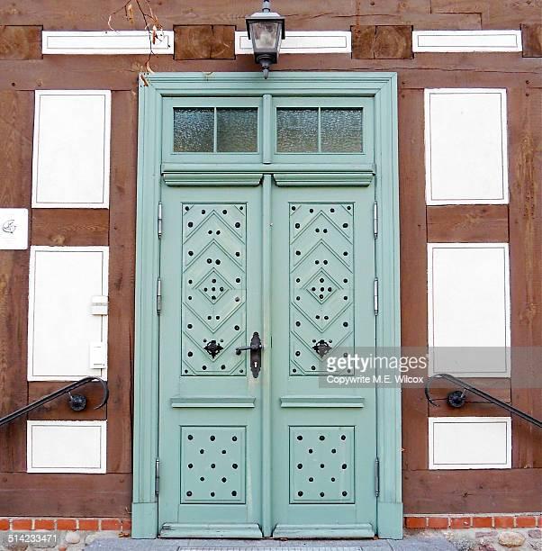 Ornate wooden double doors