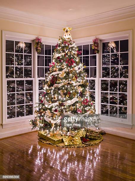 Ornately decorated christmas tree in modern living room at night