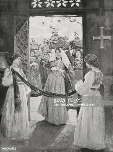 Ornella and Favetta scene IV Act III from The daughter of Iorio tragedy by Gabriele d'Annunzio drawing by Arnaldo Ferraguti from L'Illustrazione...