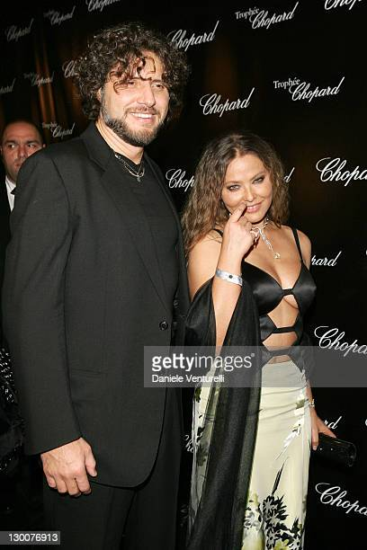 Ornella Muti con iand Stefano Piccolo during 2005 Cannes Film Festival Chopard Trophy Awards Photocall at Carlton Hotel in Cannes France