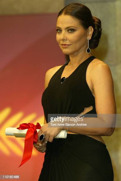 Ornella Muti wearing jewelry by Chopard during 2003 Cannes Film Festival Closing Ceremony Show at Palais des Festivals in Cannes France