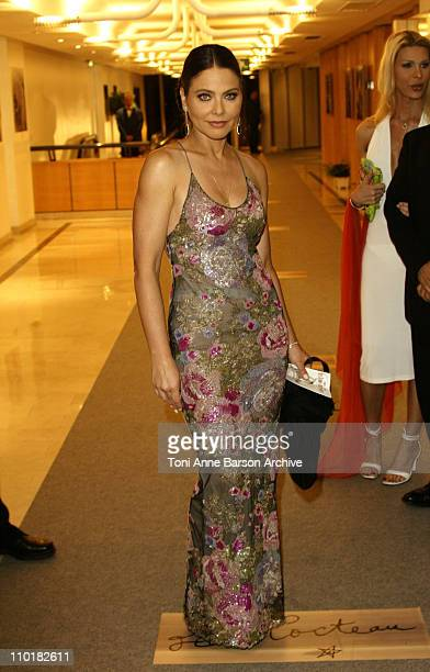 Ornella Muti wearing jewelry by Chopard during 2003 Cannes Film Festival Closing Ceremony Dinner at Palais Des Festival in Cannes France