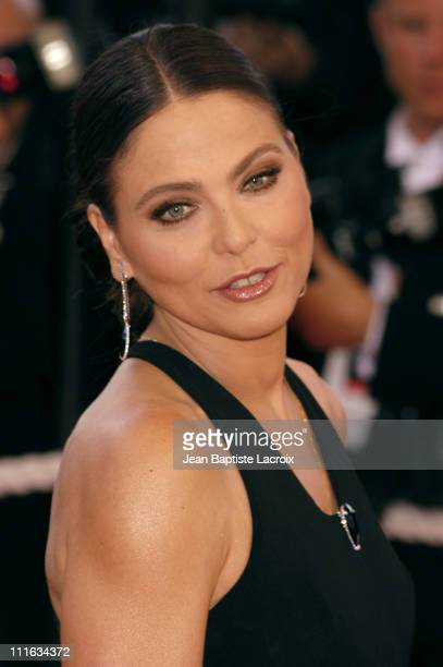 Ornella Muti wearing jewelry by Chopard during 2003 Cannes Film Festival - Closing Ceremony - Arrivals at Palais des Festivals in Cannes, France.