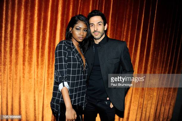 Ornella Suad and Amir Arison attend Aviron Pictures with The Cinema Society host the after party for 'Serenity' at Magic Hour Rooftop Bar Lounge on...