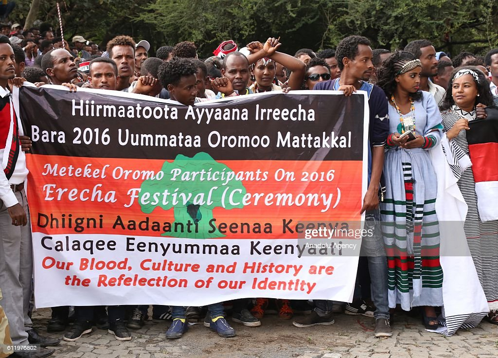 Oromo people stage a protest against government during the Oromo new