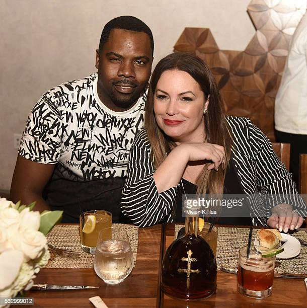 Oronde Garrett and Angie Martinez attend D'USSE Dinner Series With Angie Martinez My Voice at BOA Steakhouse on May 19 2016 in West Hollywood...