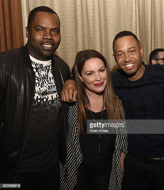 Oronde Garrett Angie Martinez and Terrence J attend D'USSE Dinner Series With Angie Martinez My Voice at BOA Steakhouse on May 19 2016 in West...