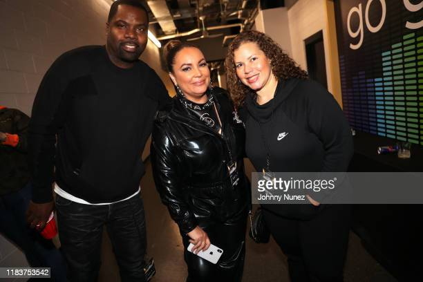Oronde Garrett Angie Martinez and Thea Mitchem backstage during Power 1051's Powerhouse 2019 at Prudential Center on October 26 2019 in Newark New...