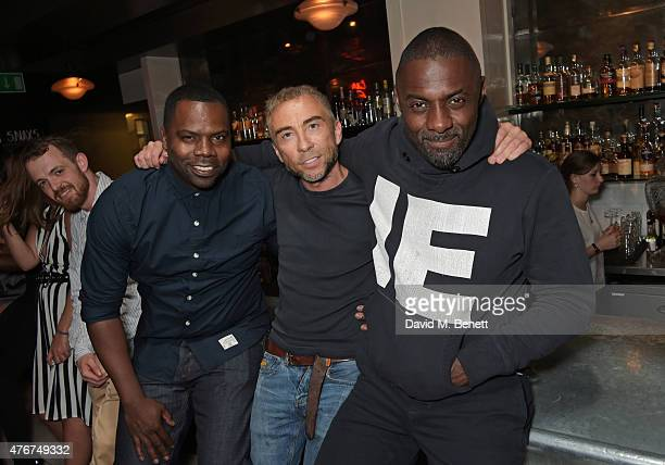 Oronde Garrett James Holder CoFounder Brand and Design Director for Superdry and Idris Elba attend the official Idris Elba Superdry presentation at...