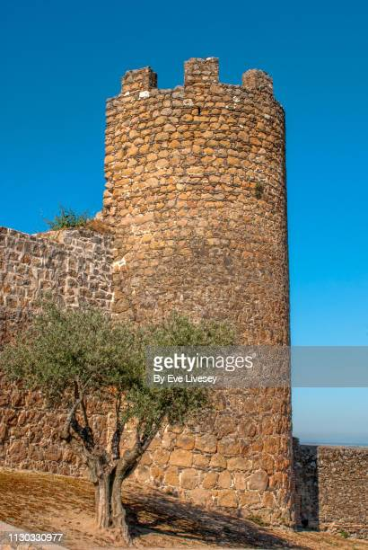 oropesa castle - fortified wall stock photos and pictures
