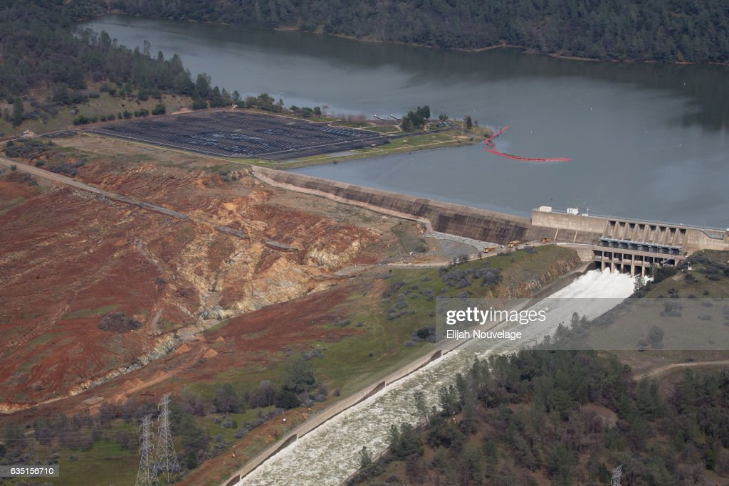 Oroville Lake the emergency and main spillways are seen from