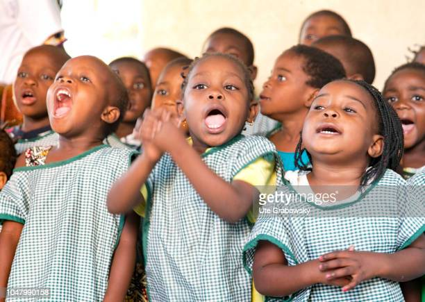 Orphanage St Egidius A group of children sings in an orphanage for AIDS patients on August 26 2018 in Beira Mozambique