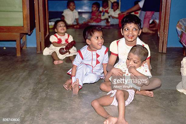 Orphaned children stand in Mother Teresa's Orphanage in Calcutta India