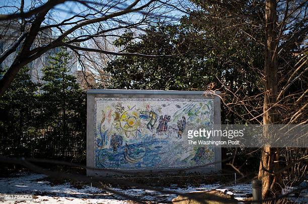 Orphee a large scale mosaic by Russian born artist Marc Chagall is displayed at the National Gallery of Art Sculpture Garden in Washington, D.C., on...