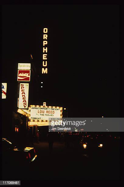 Orpheum Theatre marquee featuring Lou Reed with The Feelies in Minneapolis Minnesota on April 7 1988