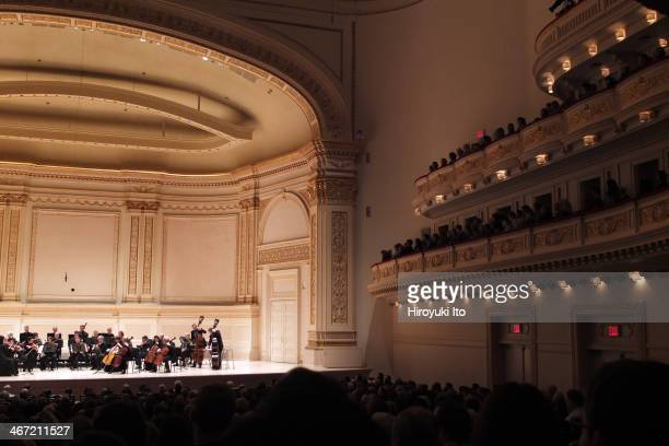 """Orpheus Chamber Orchestra performing Beethoven's """"Symphony No. 2 in D Major"""" at Carnegie Hall on Saturday night, January 25, 2014."""