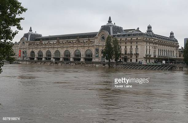Orsay Museum is closed today as water rises near the area of the Louvre Museum as the Seine river's embankments overflow after seven days of heavy...