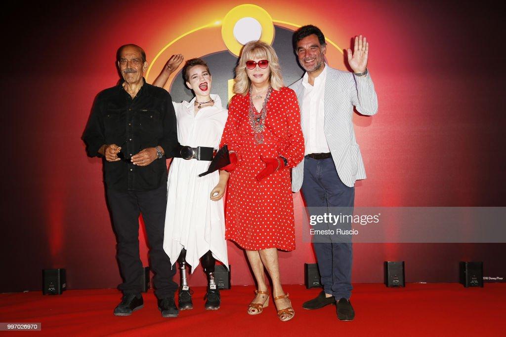 Orso Maria Guerrini, Bebe Vio,ÊAmanda Lear andÊTiberio Timperi attends the 'Gli Incredibili 2' photocall at Hotel De Russie on July 12, 2018 in Rome, Italy.