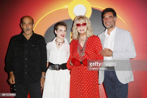 Orso Maria Guerrini Bebe VioÊAmanda Lear andÊTiberio Timperi attends the 'Gli Incredibili 2' photocall at Hotel De Russie on July 12 2018 in Rome...