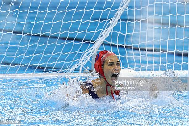 Orsolya Kaso of Hungary celebrates against Australia during an overtime shootout on Day 10 of the 2016 Rio Olympics at Olympic Aquatics Stadium...