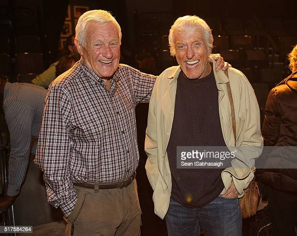 Orson Bean poses with Dick Van Dyke after his one man play Safe At Home an evening with Orson Bean at Pacific Resident Theatre on March 26 2016 in...