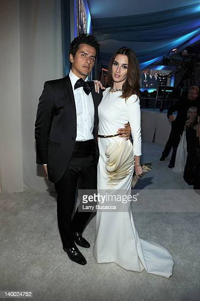Orson Salazar and actress Paz Vega attend the 20th Annual Elton John AIDS Foundation Academy Awards Viewing Party at The City of West Hollywood Park...