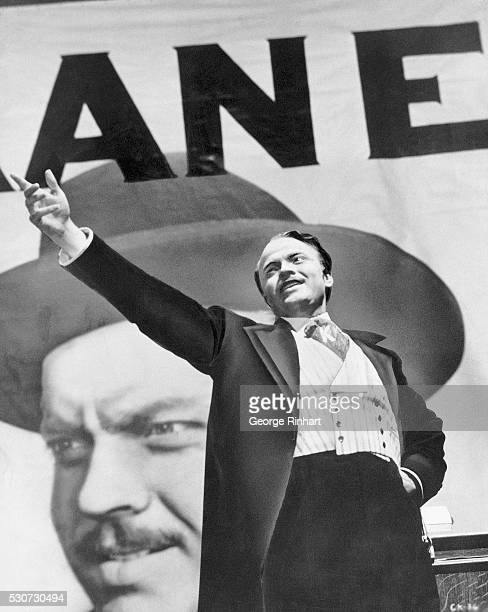 Orson Welles in Citizen Kane written produced and directed by Orson Welles RKO He also starred in the film Photo shows Kane pointing with a billboard...