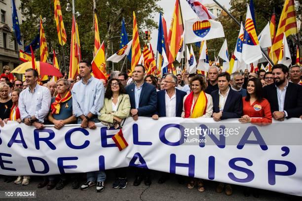 Ortega Smith of VOX Xavier Garcia Albiol of Partido Popular Dolors Montserrat of Partido Popular and Ines Arrimadas of Ciutadans during the Spanish...