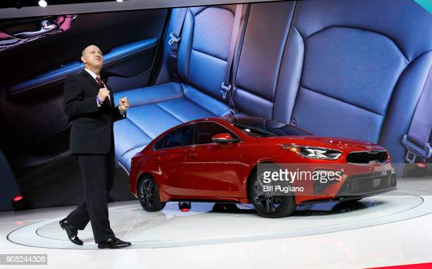 Orth Hendrick Vice President of Product Planning Kia Motors America speaks about the new 2019 Kia Forte sedan at its debut at the 2018 North American...