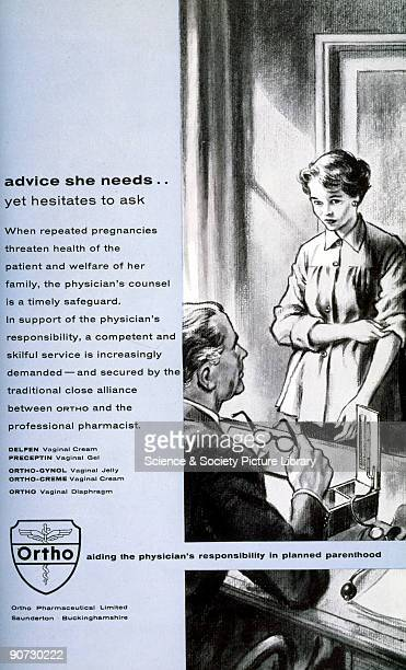 Ortho advertisement for contraceptives showing a nervous woman in her male doctor�s office The text stresses the doctor�s responsibility in �planned...