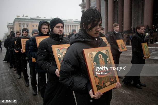 Orthodox believers during a religious procession in support of the St Isaac's Cathedral to Russian Orthodox Church On 19 february 2017 in Saint...