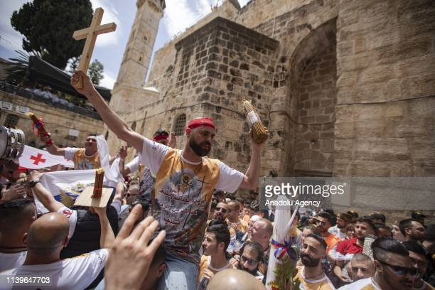 Orthodox Christian worshippers gather at the Tomb of Christ as the miracle of the Holy Fire ceremony occurs in the Church of the Holy Sepulchre...