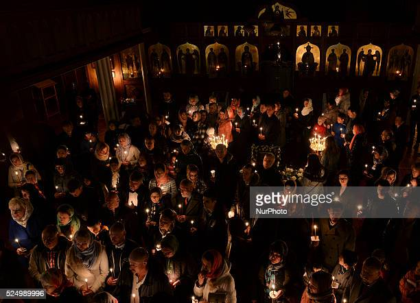 Orthodox Christians from Dublin and Ireland celebrate Easter late into the night in the Holy Apostles Peter and Paul Orthodox Church at Harold's...