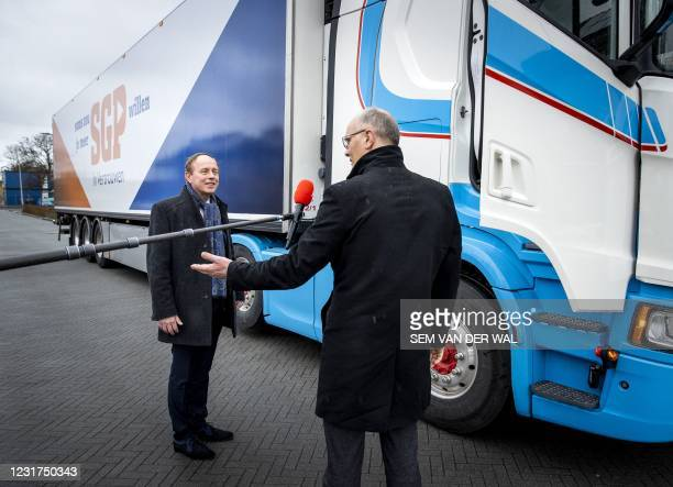 Orthodox Christians SGP party leader Kees van der Staaij departs from his hometown Benthuizen with the campaign truck to The Hague on March 16, 2021....