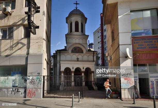 Orthodox church Sfantul Ioan Nou one of the moved churches is pictured in Bucharest October 30 2017 A bit bruised but still standing old Orthodox...