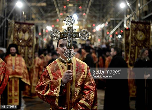Orthodox clergies arrive at the Church of the Nativity believed to be the birth place of Jesus Christ in West Bank town of Bethlehem on January 6...