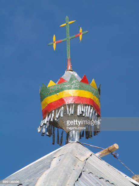 orthodox cross on top of ethiopian church in tigray region - ethiopian orthodox church stock pictures, royalty-free photos & images