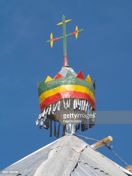 Orthodox cross on top of Ethiopian church in Tigray region