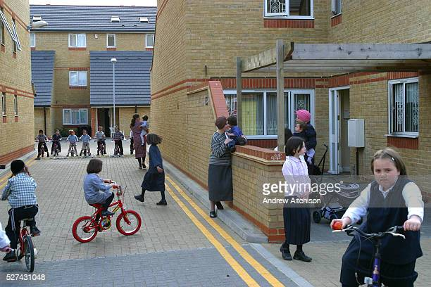 Orthodox Jewish children playing in the street of Reizel close an Agudas Israel Housing Association development for lowincome Orthodox Jewish...