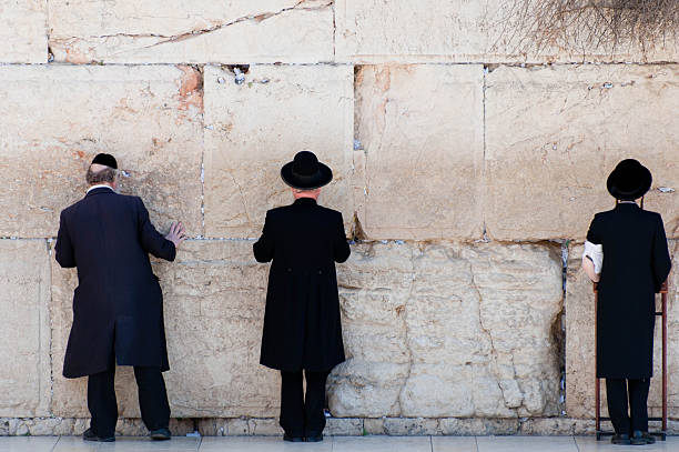 Orthodox Jewish Men Praying At The Wailing Wall Wall Art