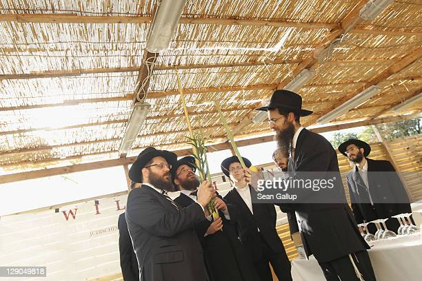 Orthodox Jews bless a sukkah, an outdoor hut, as part of the Sukkot holiday at the Chabad center on October 12, 2011 in Berlin, Germany. Sukkot, also...