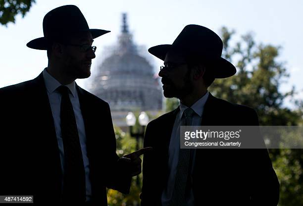 Orthodox Jews gather near Upper Senate Park as they protest against the Iran nuclear agreement on Capitol Hill in Washington Wednesday Sept 9 2015