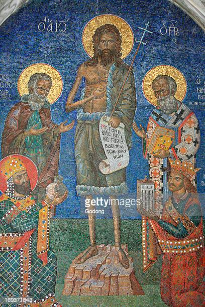 Orthodox mosaic depicting Saint John the Baptist with bishops and kings