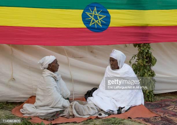 Orthodox pilgrims at Timkat festival Lalibela Ethiopia on January 18 2014 in Lalibela Ethiopia