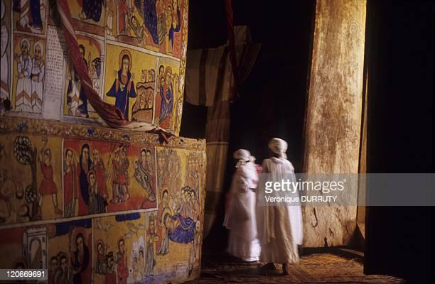 Orthodox pilgrims Ura Kidane Meret monastery Zege Peninsula lake Tana in Ethiopia Ura Kidane Meret monastery is Situated in the Zege peninsula on the...