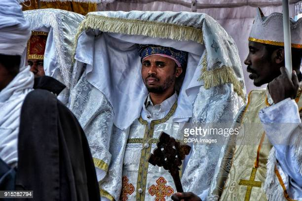 Orthodox priests carry a tabot a model of the Ark of the Covenant on a procession through Gondar The annual Timkat festival an Orthodox Christian...