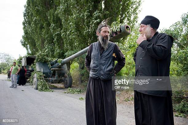 Orthodox priests visit Georgian soldiers to offer their blessings along the front line of conflict August 11 2008 between Tskinvali South Ossetia and...